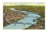 Bridges over Ohio River, Cincinnati, Ohio Prints