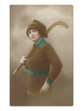 Woman with Field Hockey Stick Print