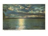 Moon on Lake Erie, Conneaut, Ohio Kunstdruck