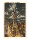 Moon over Chrysler Building, New York City Poster