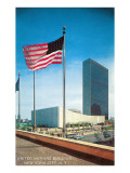 American Flag and United Nations Buildings, New York City Poster