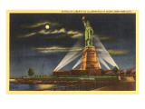 Moon over Statue of Liberty, New York City Prints