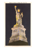 Statue of Liberty at Night, New York City Prints