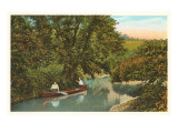 Canoing on Creek Print
