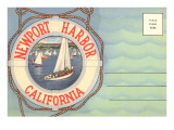 Postcard Folder, Newport Harbor, California Art