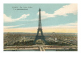 Eiffel Tower and Panoramic View of Paris Prints