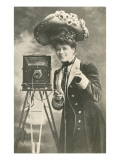 Lady Photographer in Picture Hat Posters