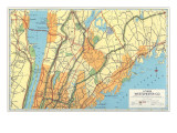 Map of Lower Westchester County, New York Prints