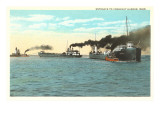 Ships Entering Conneaut Harbor, Ohio Art