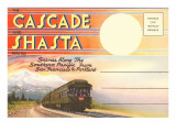 Postcard Folder, Cascade, Shasta, Routes Poster
