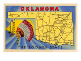 Oklahoma, The Sooner State, Map Posters
