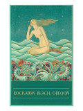 Art Deco Mermaid, Rockaway Beach, Oregon Affiches