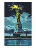 Statue of Liberty at Night, New York Harbor Prints
