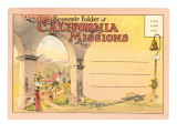 Postcard Folder, Souvenir of California Missions Print