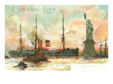 Painting, Cunard Line Ship Passing Statue of Liberty, New York City Posters