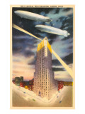 Night, Blimps over Central Trust, Akron, Ohio Poster