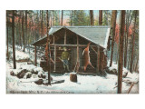 Hanging Deer by Adirondack Cabin, New York Prints