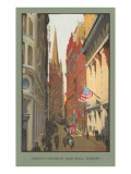 Painting of Trinity Church, Wall Street, New York City Poster