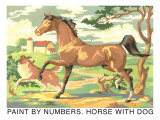 Paint by Numbers, Horse with Dog Prints