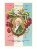 Washington in Cherry-Wreathed Plaque Prints