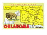 The Sooner State, Oklahoma, Map Print