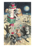 Cat Astronauts Landing on Female Cat Planet Print