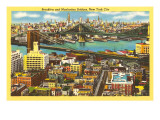 View over Brooklyn and Manhattan Bridges, New York City Prints