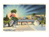 Subway Entrance, Great Lakes Exposition at Night, Showing the Aurora Borealis, Cleveland, Ohio Poster