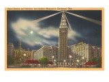 Moon over Union Station, Cleveland, Ohio Prints