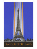 Vertically Lit Eiffel Tower Prints