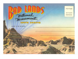 Postcard Folder, Badlands National Monument, South Dakota Prints
