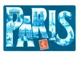 Blue Paris Large Letter Prints