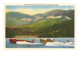 Speedboat Racing on Mountain Lake Prints