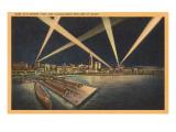 Night, Harbor and Skyline, Cleveland, Ohio Print