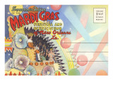Postcard Folder, Mardi Gras, New Orleans, Louisiana Prints