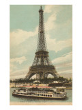 Eiffel Tower and Boat on the Seine Prints