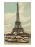 Torre Eiffel y barca en el Sena Pósters