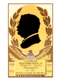 Silhouette Profile of Teddy Roosevelt Prints