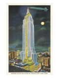 Blimp, Moon over Empire State Building, New York City Prints