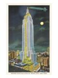 Dirigible, luna sobre el edificio Empire State, Nueva York Pósters