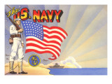 U.S. Navy Sailor with Flag and Ship Prints