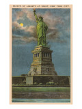 Moon over Statue of Liberty, New York City Posters