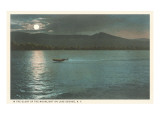 Moonlight on Lake George, New York Prints
