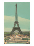 Early View of Eiffel Tower Póster