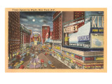 Moon over Times Square, New York City Prints