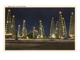 Night in the Oil Fields, Oklahoma Prints