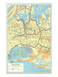 Map of Queens, New York Art