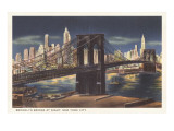Brooklyn Bridge at Night, New York City Print