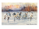 Old Time Hockey on Lake Placid, New York Poster