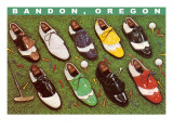 Golf Shoes on Putting Green, Bandon, Oregon Prints